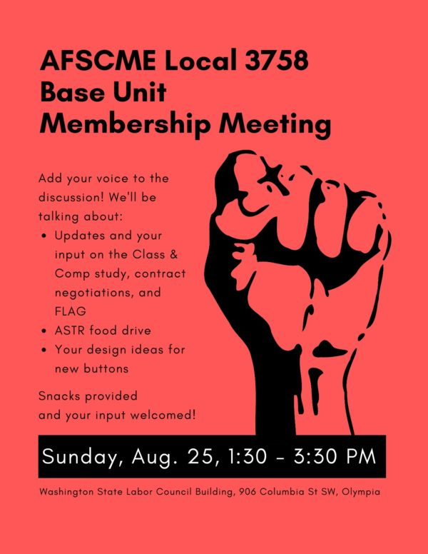 August Membership Meeting flyer
